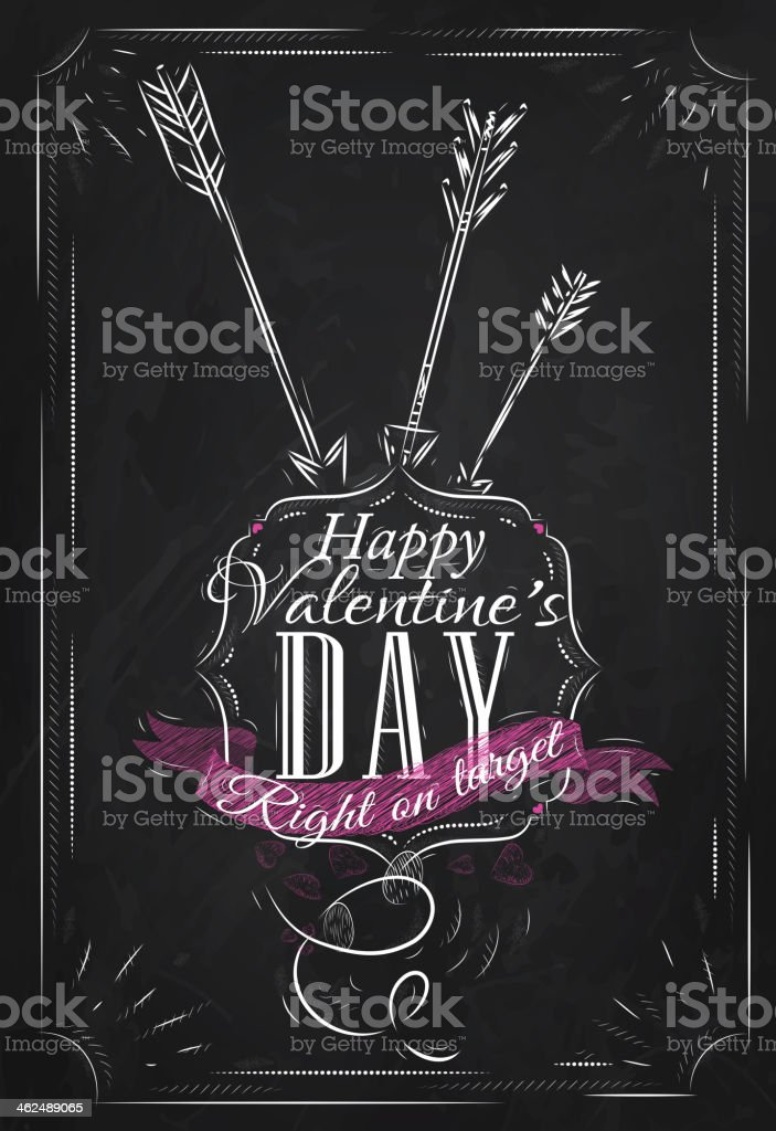 Poster Valentine's Day drawing with chalk on the blackboard royalty-free stock vector art