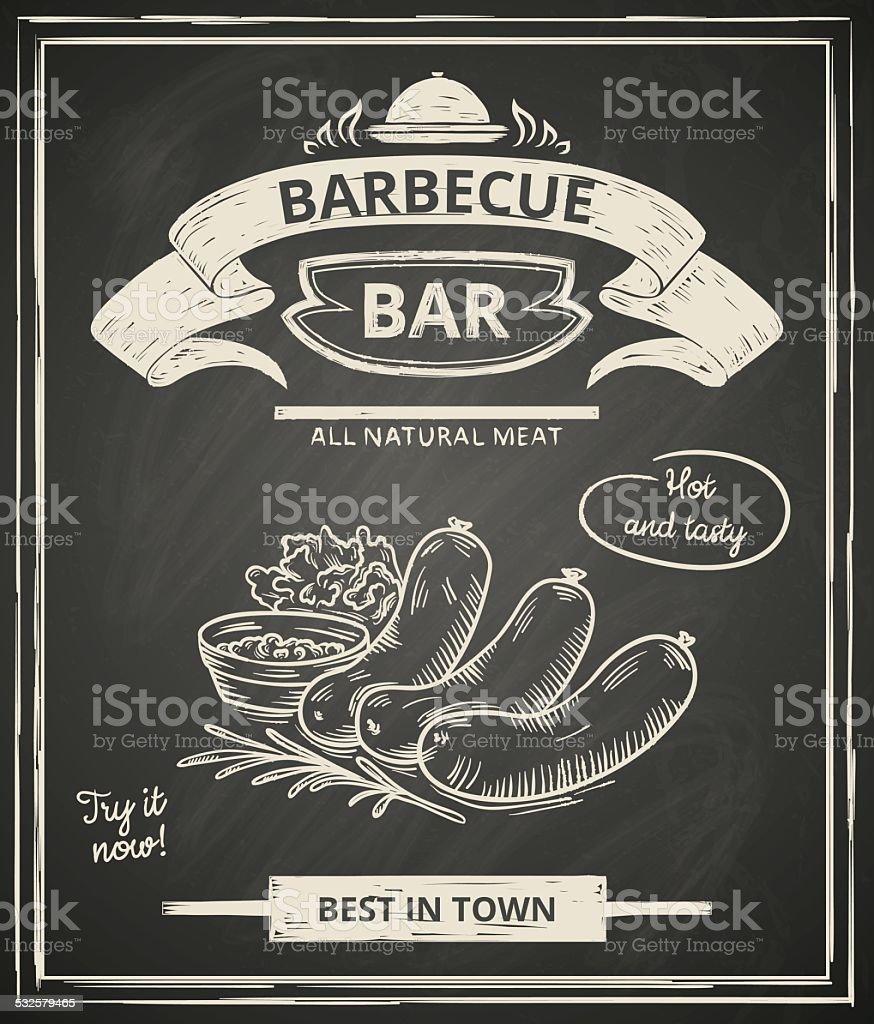 BBQ poster vector art illustration