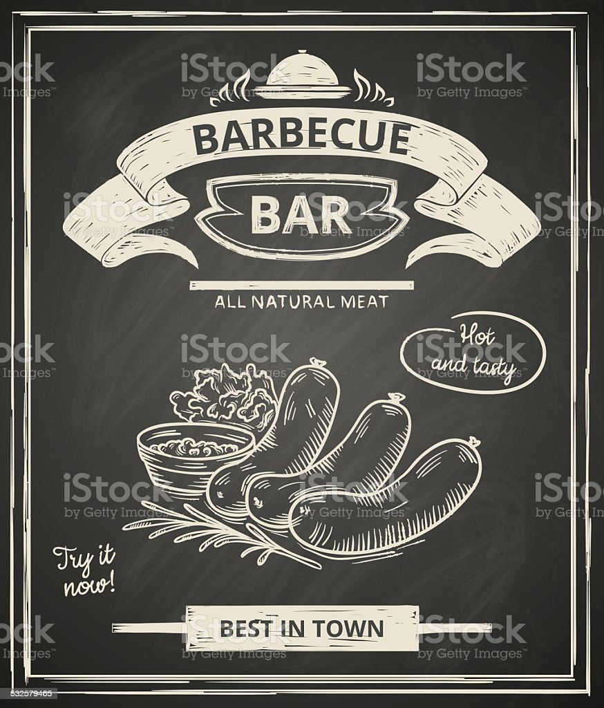 BBQ poster vector art illustration