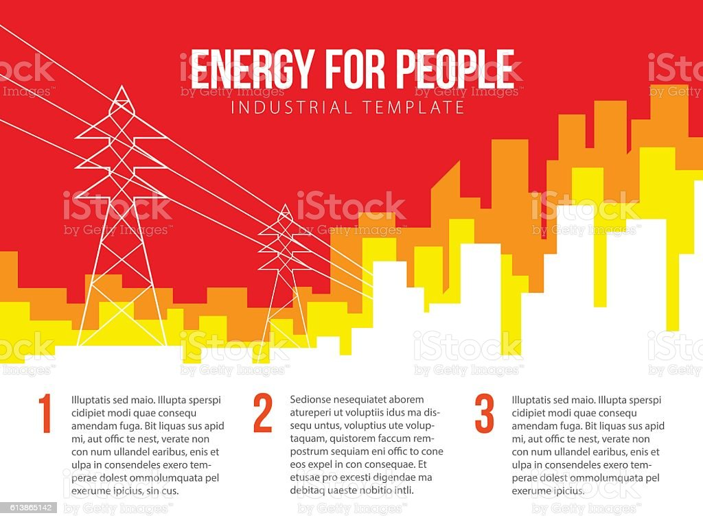 Poster vector template with electric power lines and city skylin vector art illustration