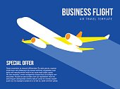 Poster vector template with plane taking off