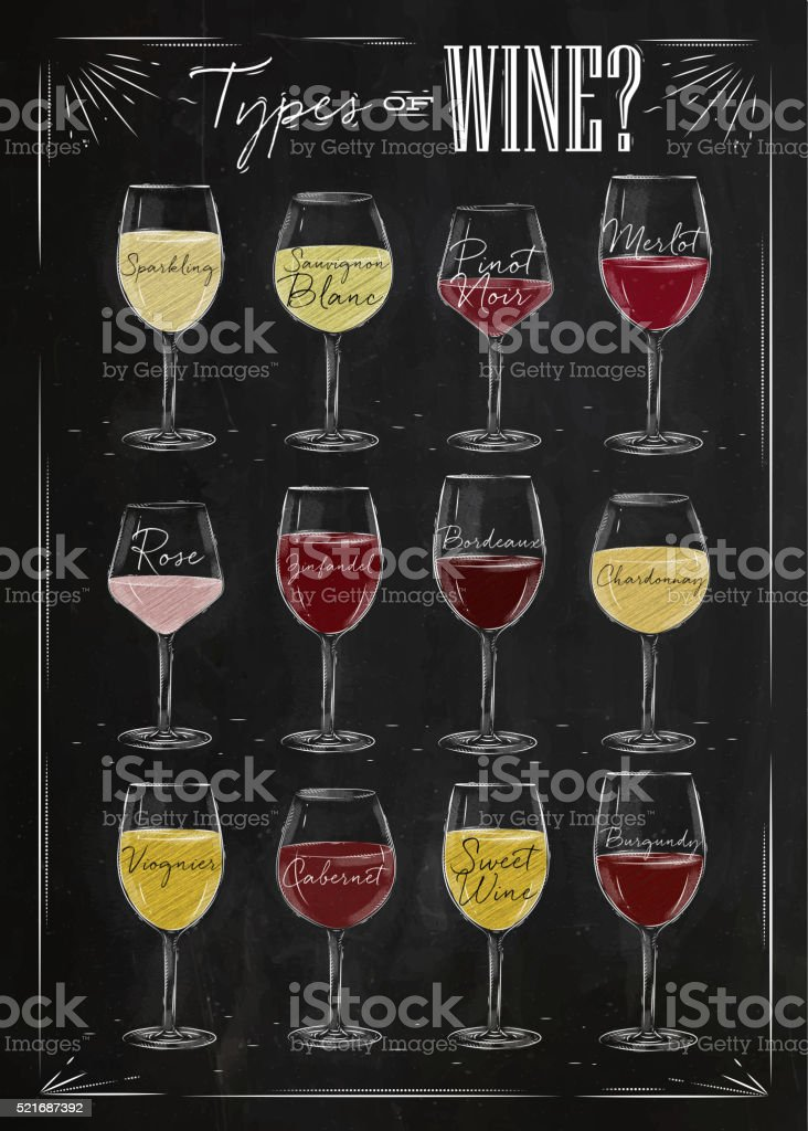 Poster wine chalk vector art illustration