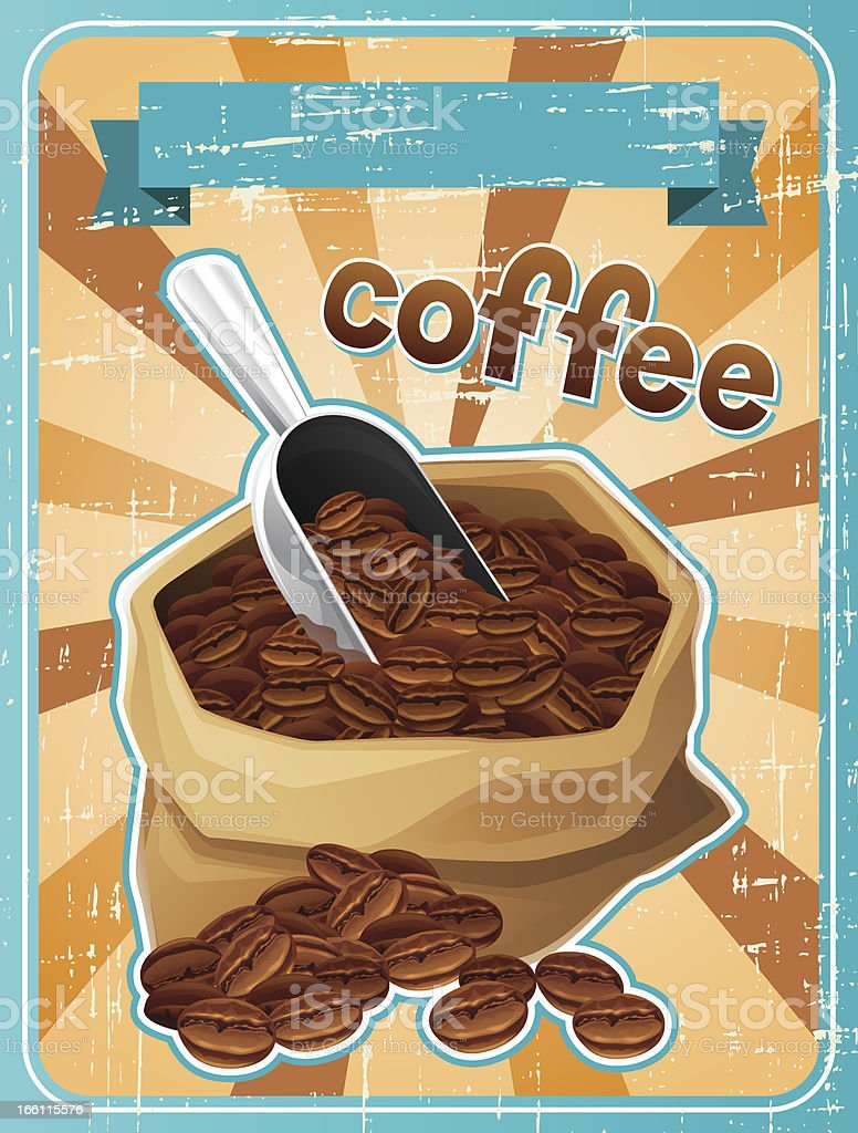 Poster with a bag of coffee beans in retro style. vector art illustration