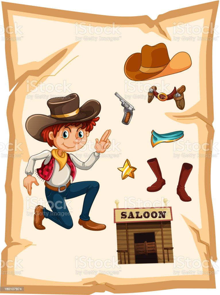 Poster with a cowboy and saloon bar vector art illustration