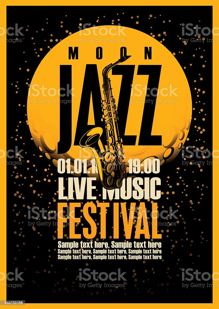 Poster with a saxophone for jazz festivals vector art illustration