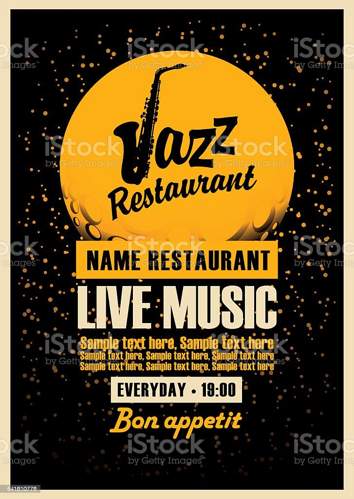 Poster with a saxophone for jazz restaurants vector art illustration