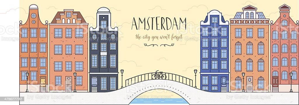 Poster with Amsterdam, Holland. Bridge, bicycle and houses vector art illustration