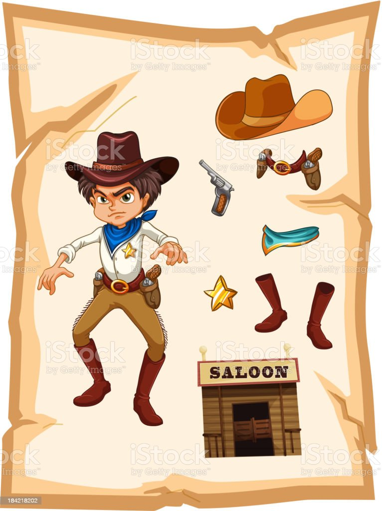 poster with an angry cowboy vector art illustration