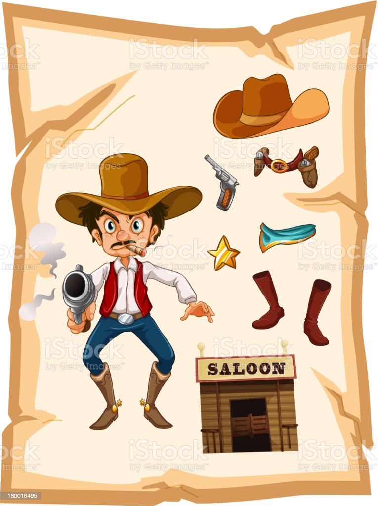 Poster with an armed old cowboy and saloon bar royalty-free stock vector art