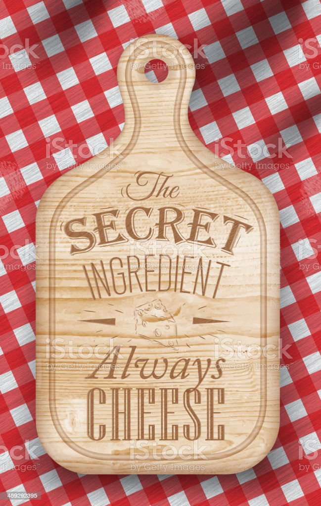 Poster with bread cutting light brown wood color. Cheese. vector art illustration