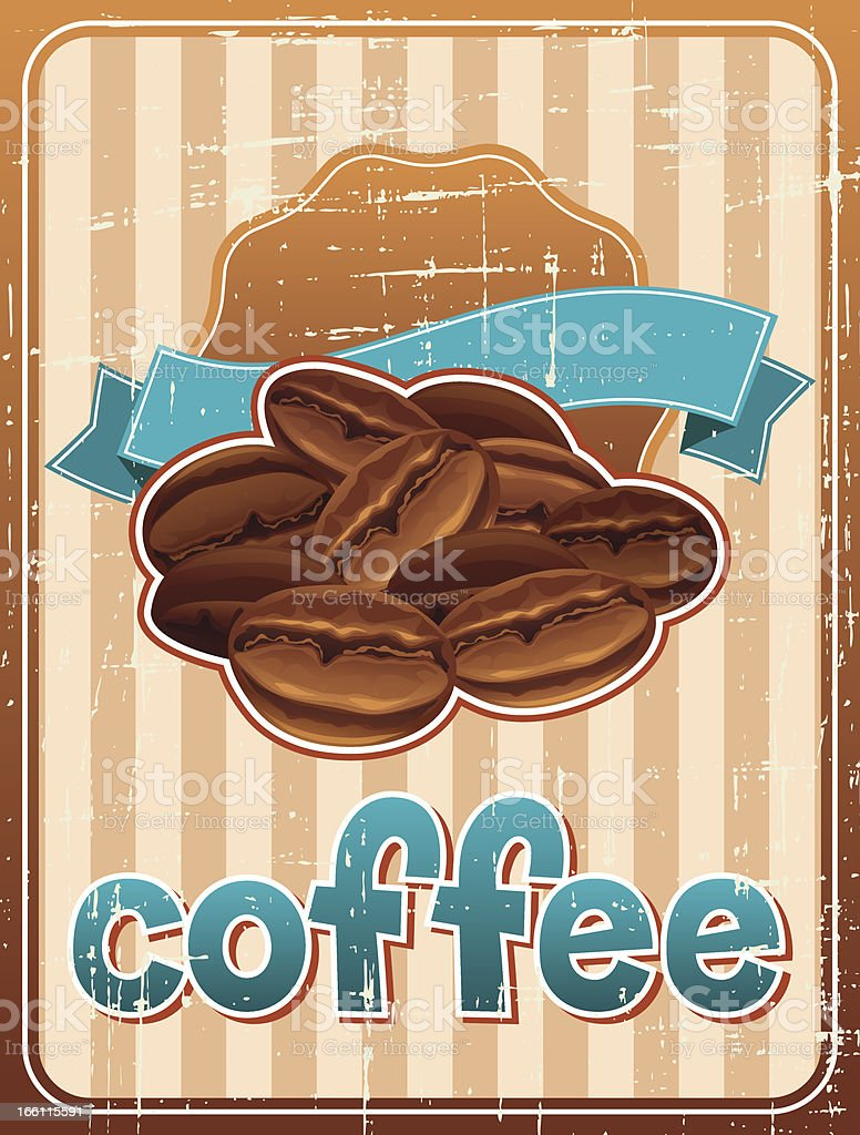 Poster with coffee beans in retro style. royalty-free stock vector art