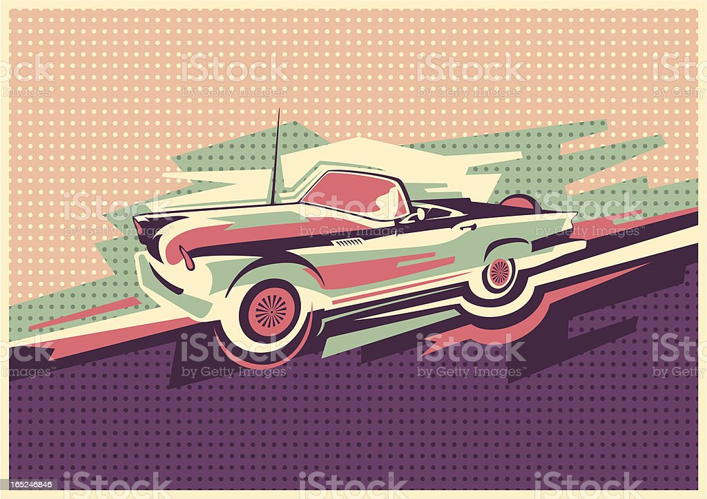 Poster with convertible. royalty-free stock vector art
