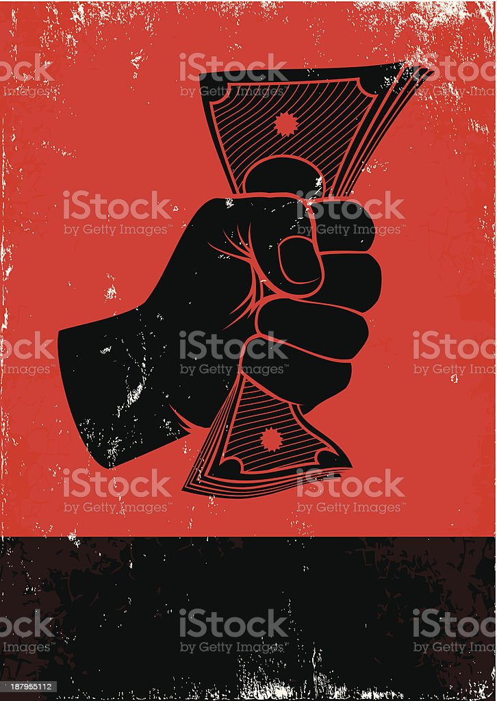 poster with fist and money vector art illustration
