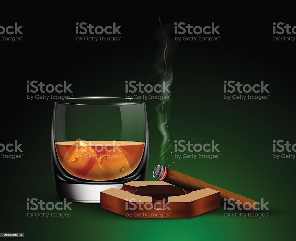 Poster with glass of whiskey. vector art illustration