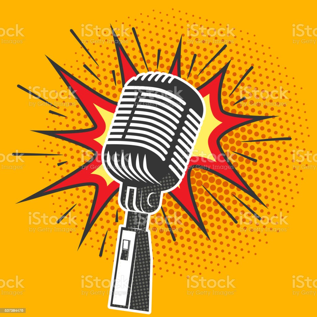 Poster with old microphone in pop art style. Design element vector art illustration