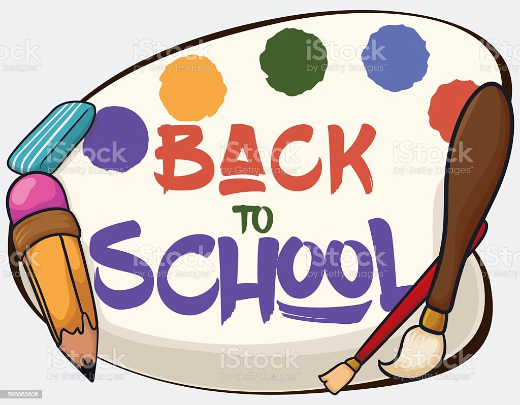 Poster with some Art Class Equipment for Back to School vector art illustration
