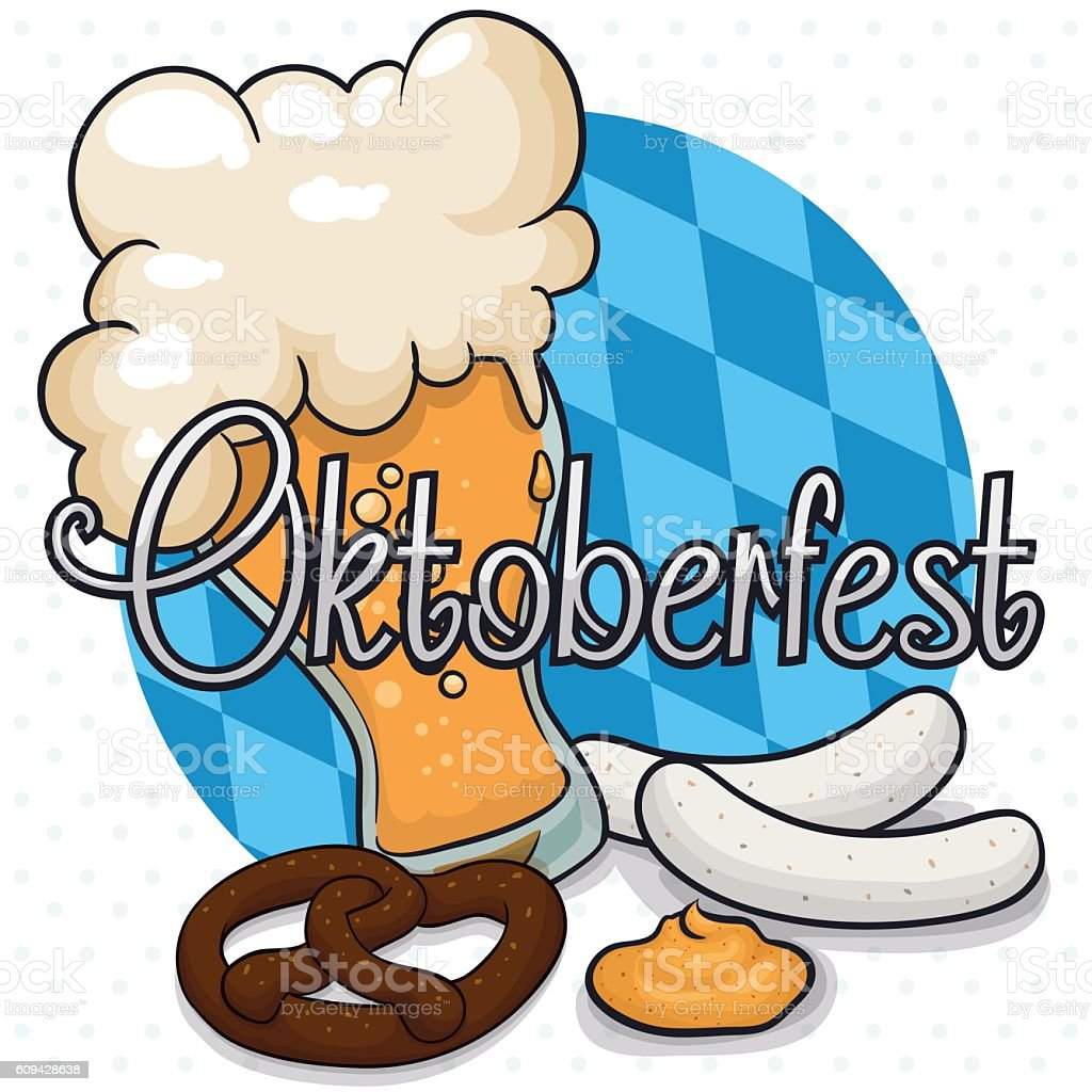 Poster with Some Oktoberfest Traditional Foods and Beer vector art illustration
