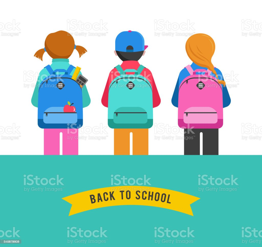 Poster with students, kids, backpacks. Back to school concept vector art illustration