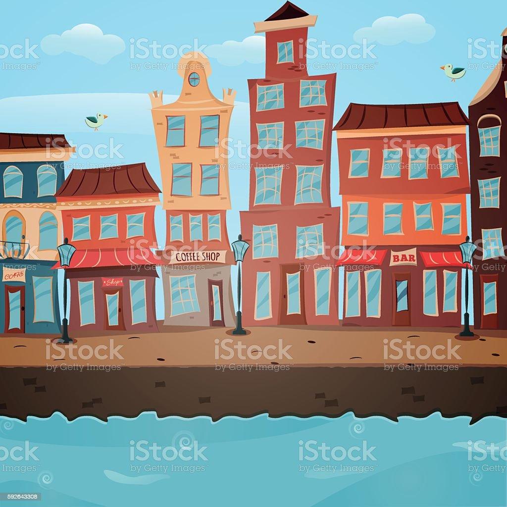 Poster with town view stock vecteur libres de droits libre de droits