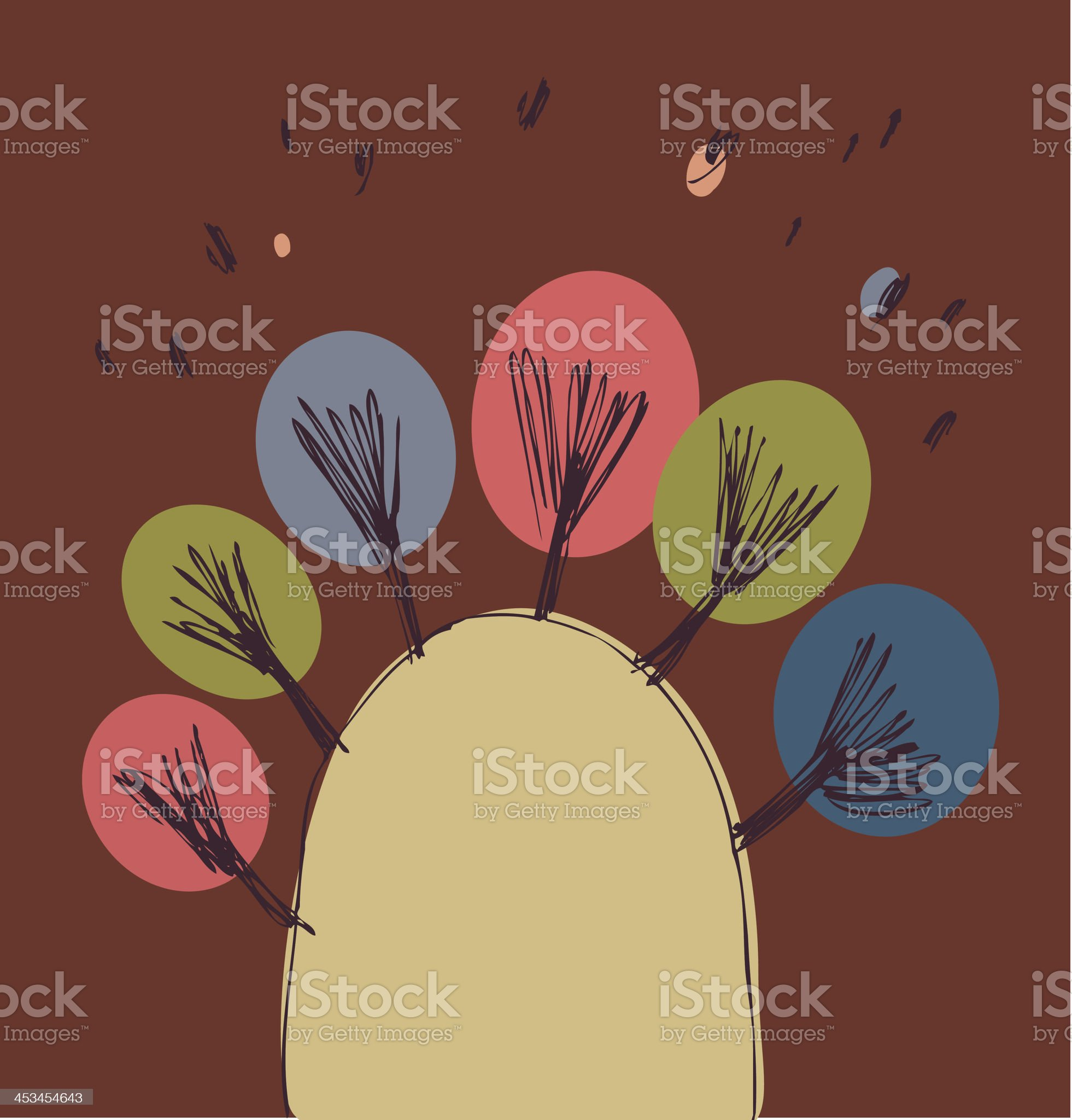 Poster with trees on the hill. royalty-free stock vector art
