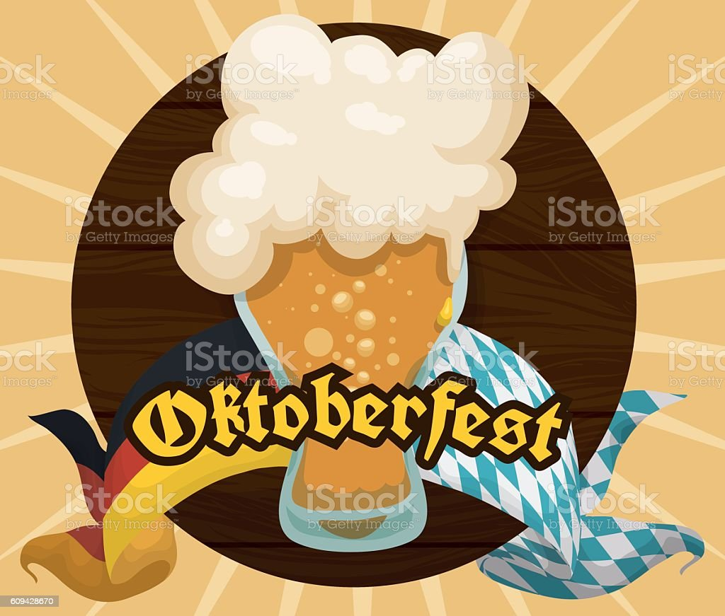 Poster with Wooden Tap and Frothy Beer for Oktoberfest Celebration vector art illustration