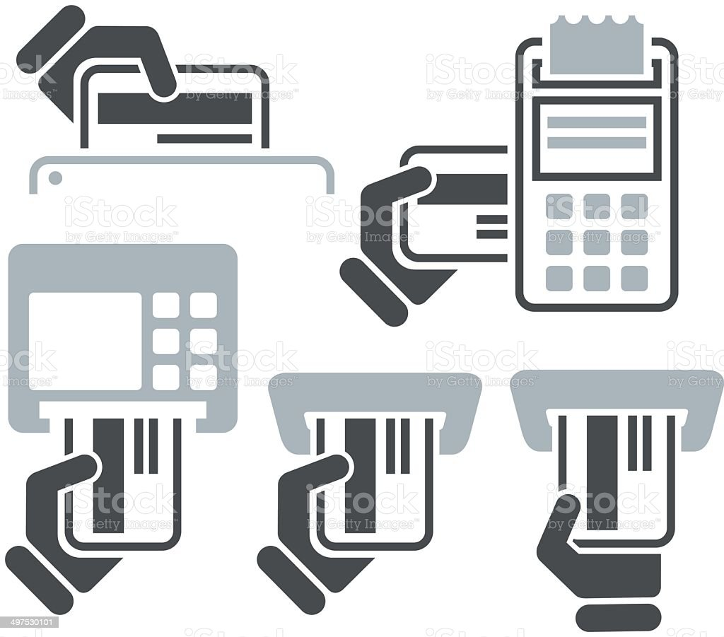 ATM, POS-Terminal and hand credit card icons vector art illustration