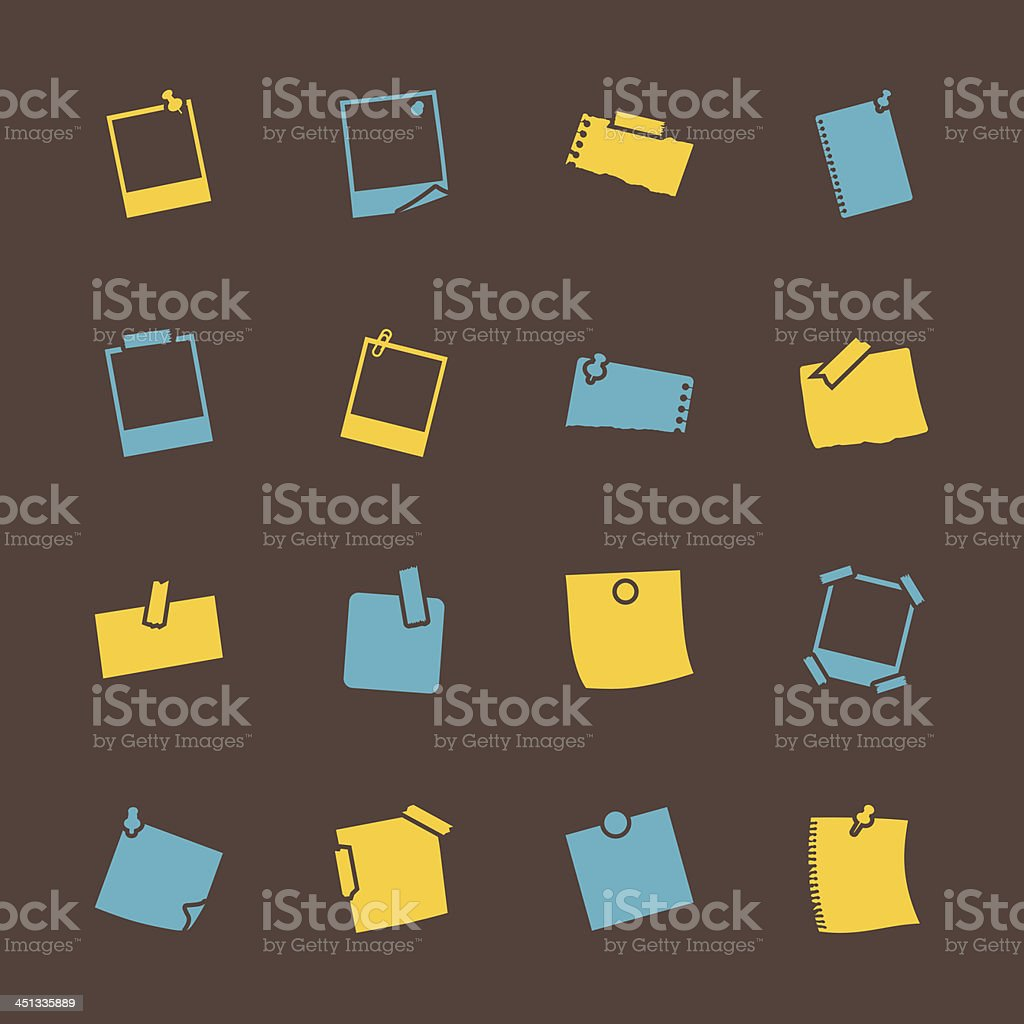 Post-It and Polaroid Photo Icons - Color Series | EPS10 royalty-free stock vector art