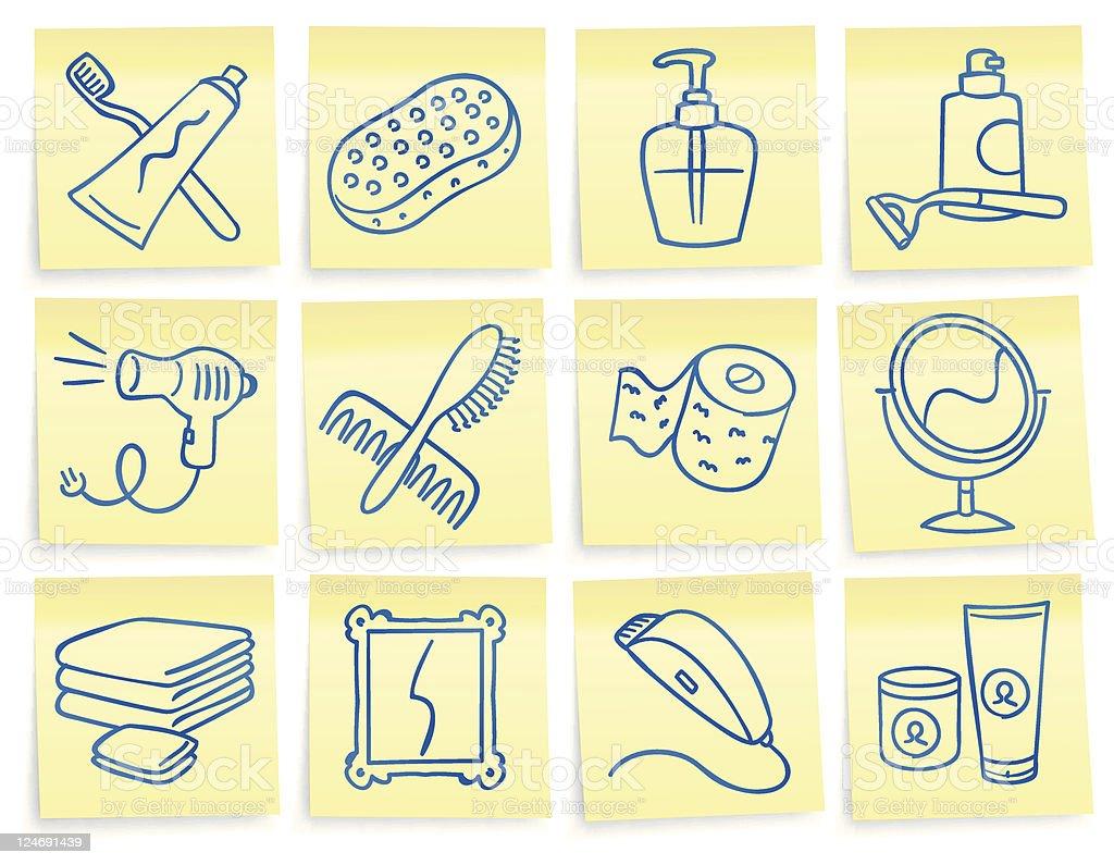 'Post-it' bathroom icons royalty-free stock vector art