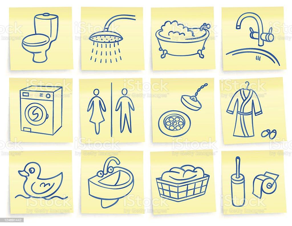 'Post-it' bathroom icons vector art illustration