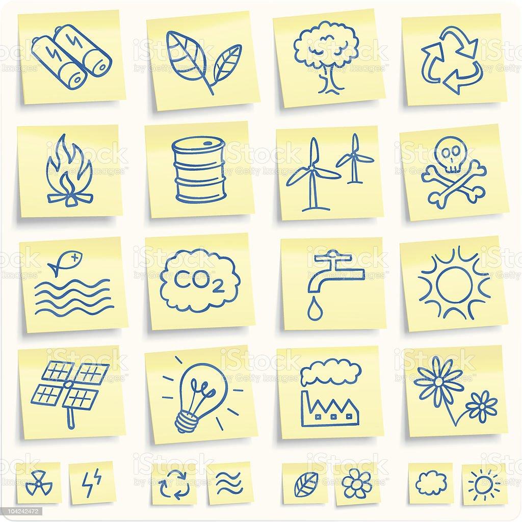 'post-it' environmental notes royalty-free stock vector art