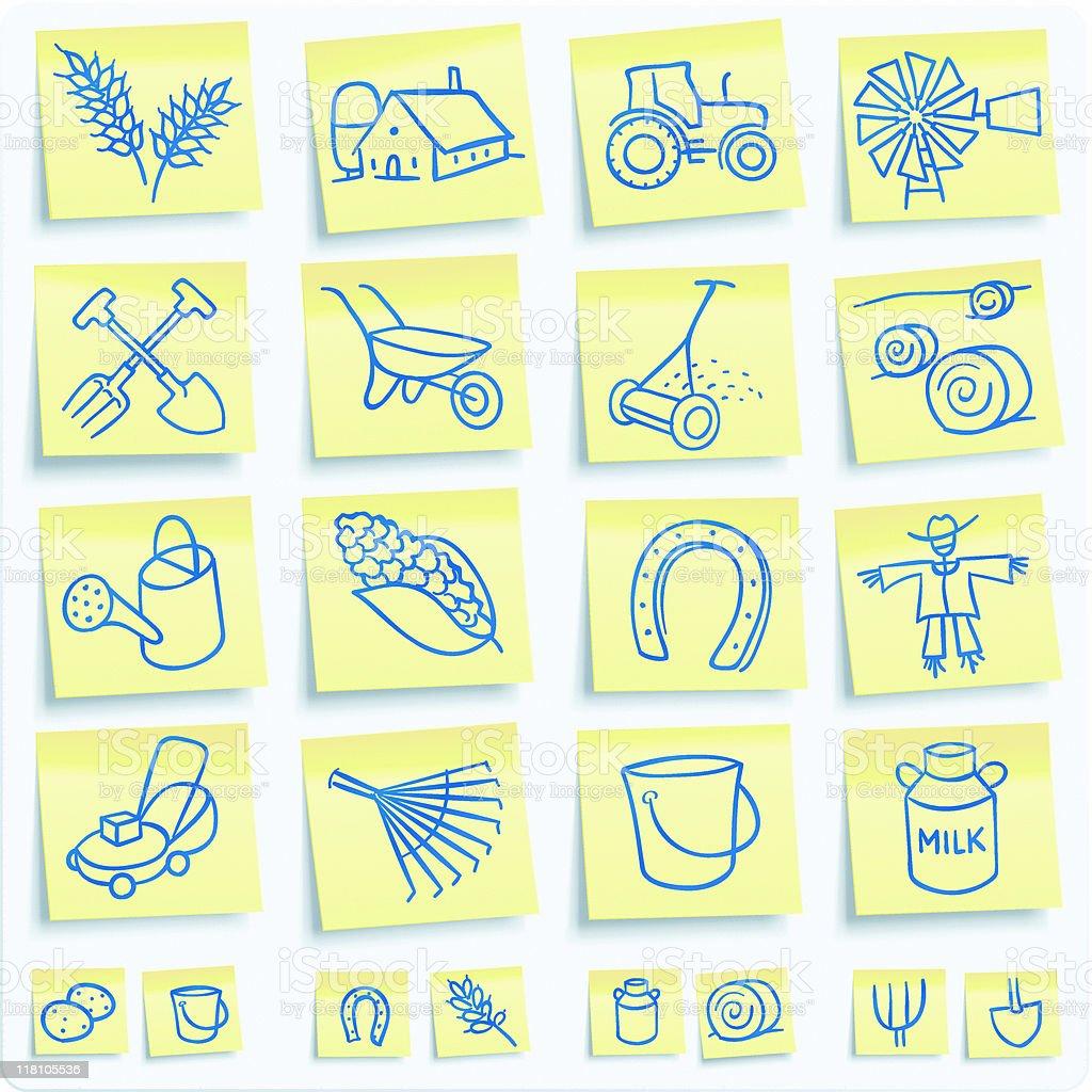 'Post-it' farm icons royalty-free stock vector art