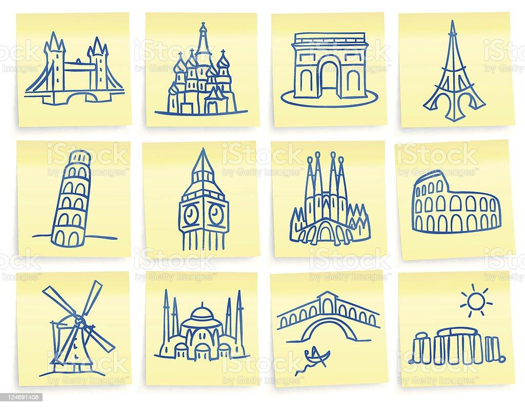 'Post-it' landmark icons vector art illustration