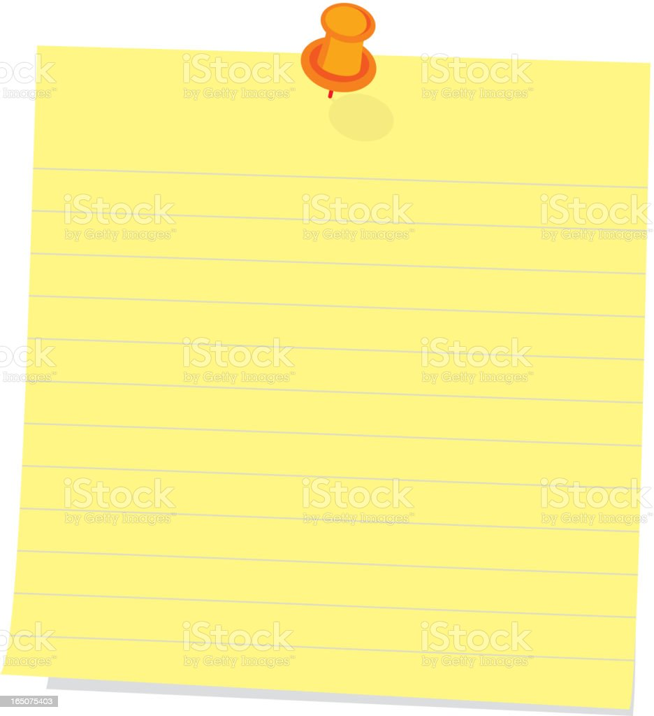 'post-it' note with push pin royalty-free stock vector art