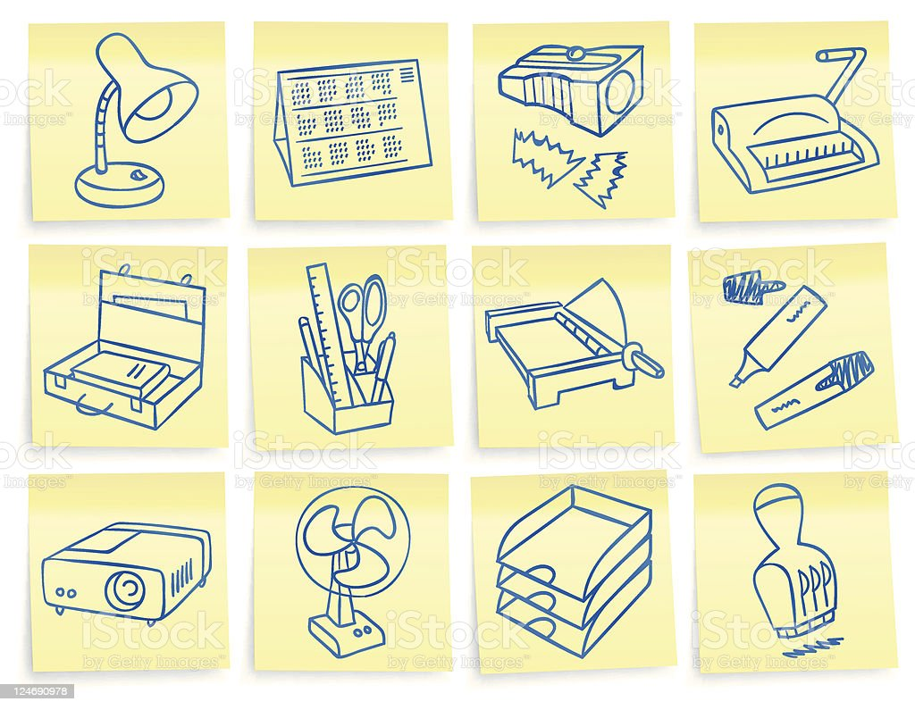 'Post-it' office stationery icons royalty-free stock vector art