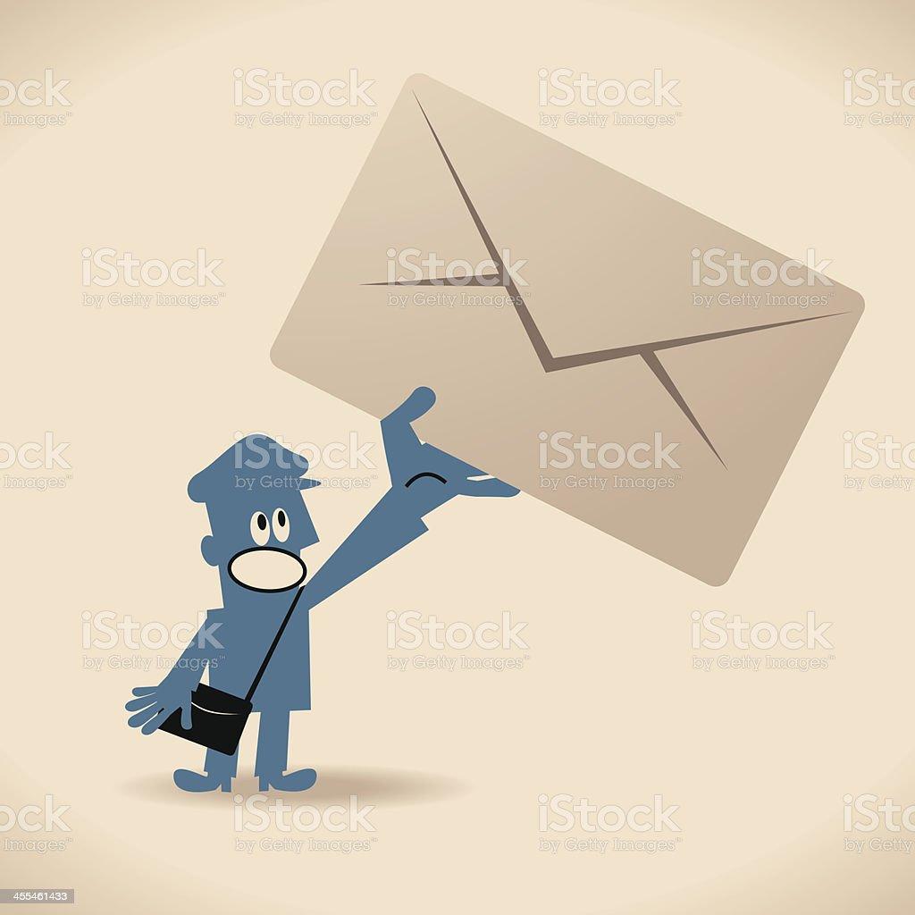 Postman Delivering Letter vector art illustration