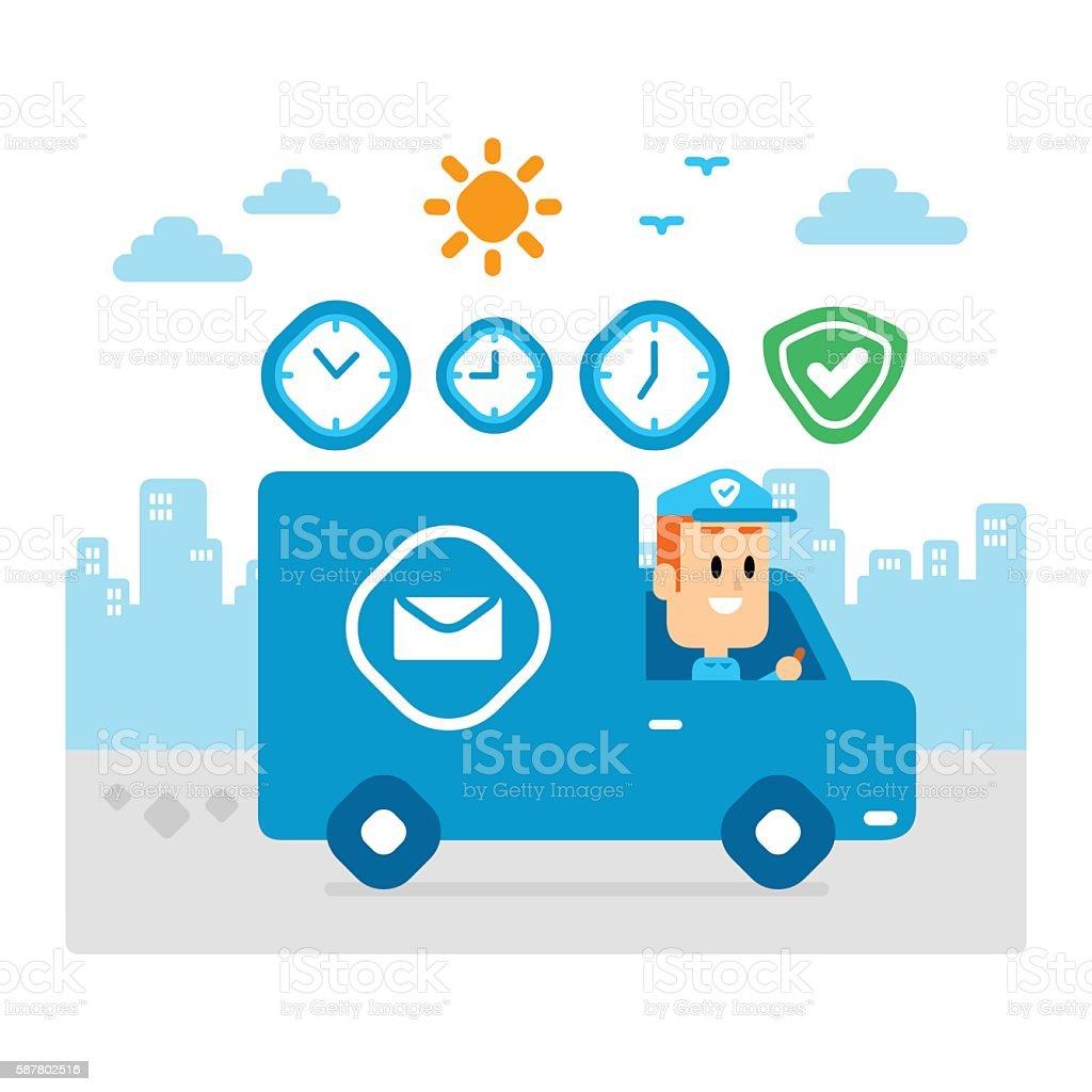 Postman Delivering Packages By Driving Van, Fast and Safe vector art illustration