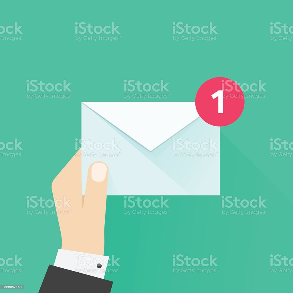 Postman hand with letter envelope, email message, mail delivery vector art illustration