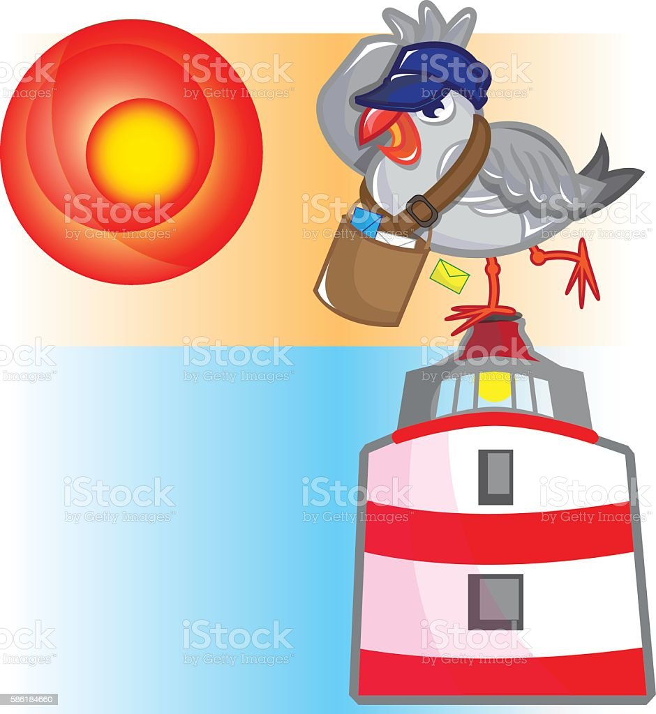 Postman Seagull vector art illustration