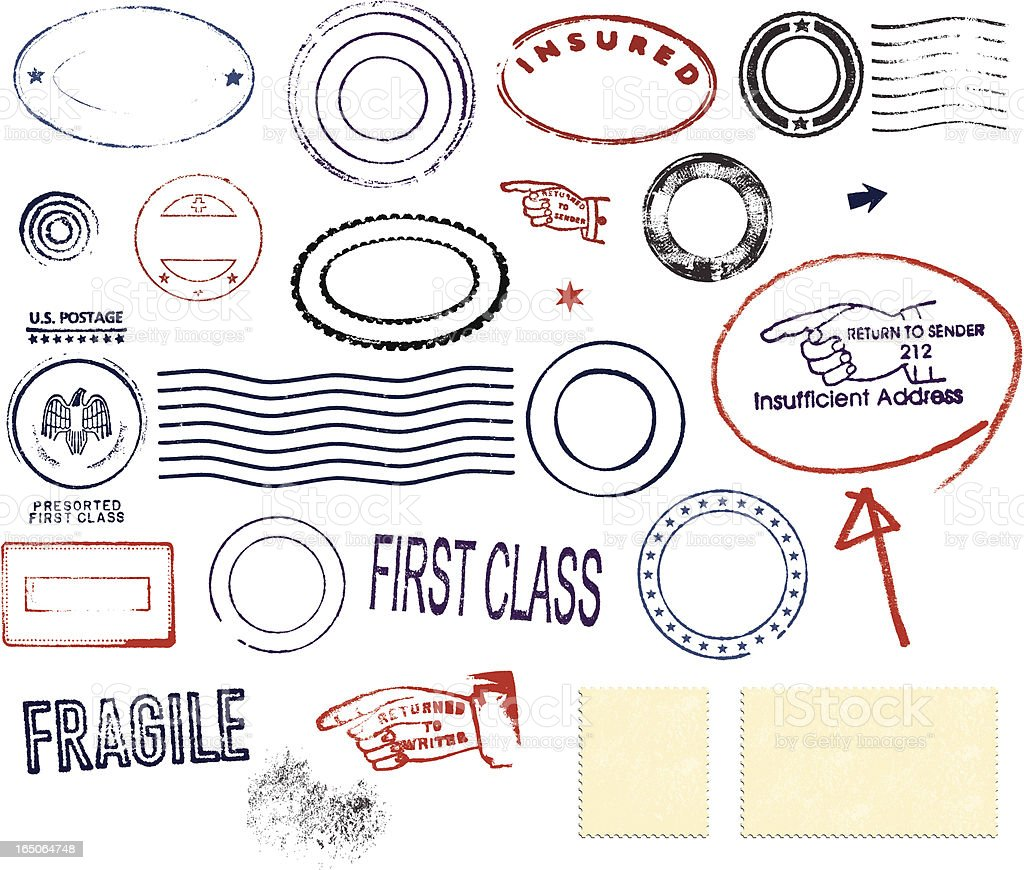 Postmark Design Set vector art illustration