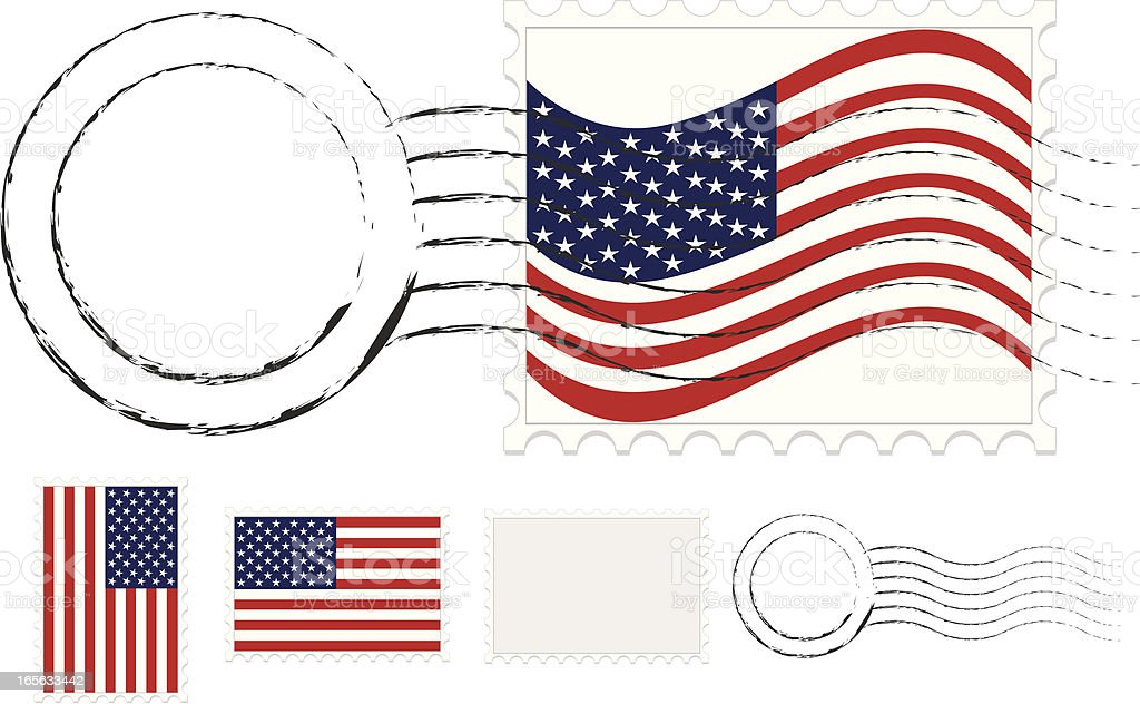 Postmark, Postage Stamps Set with American Flags and Extra Blanks royalty-free stock vector art