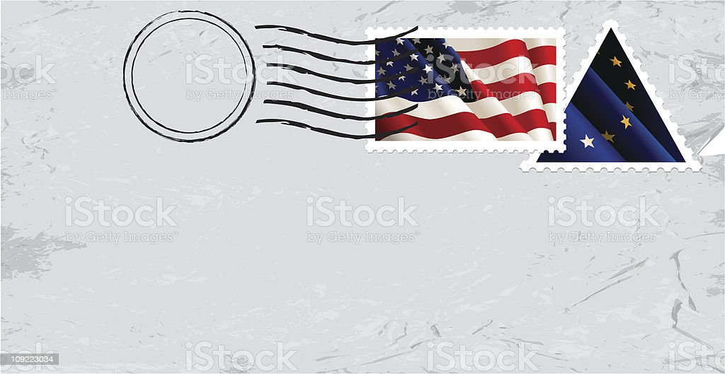 Postmark & Stamp with US flag royalty-free stock vector art