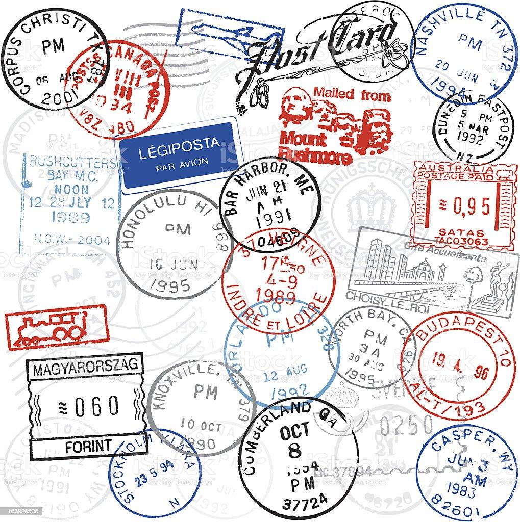Postmarks vector art illustration