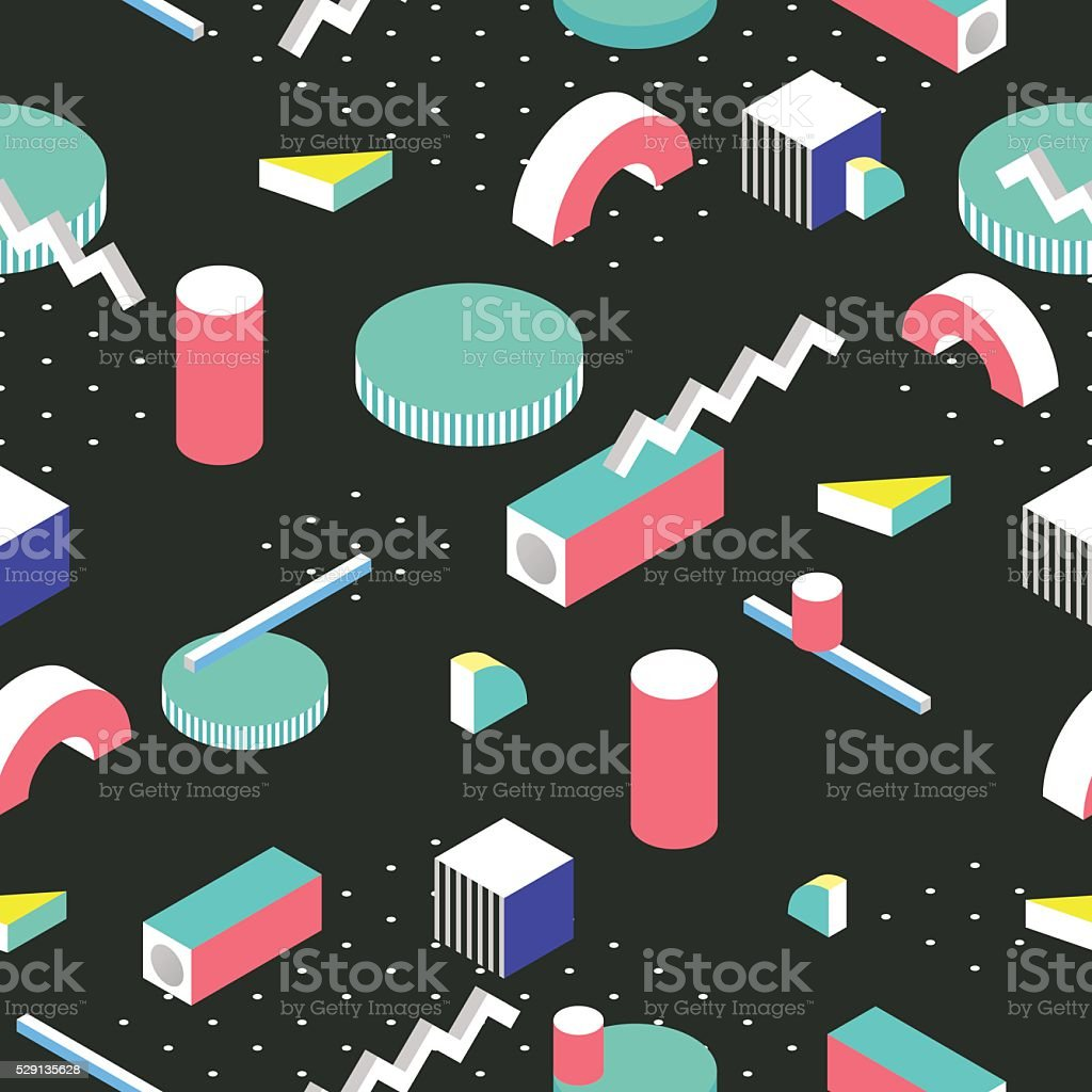 Postmodern 80s style seamless pattern. 3d isometric background. vector art illustration