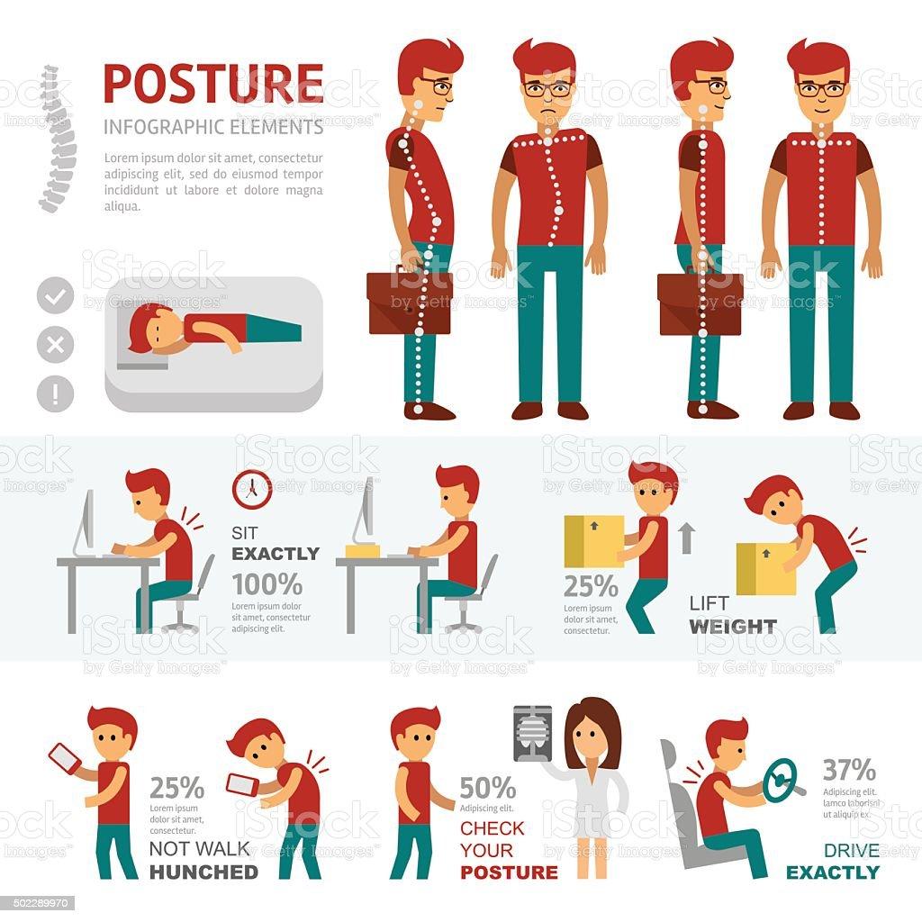 Posture infographic elements vector art illustration
