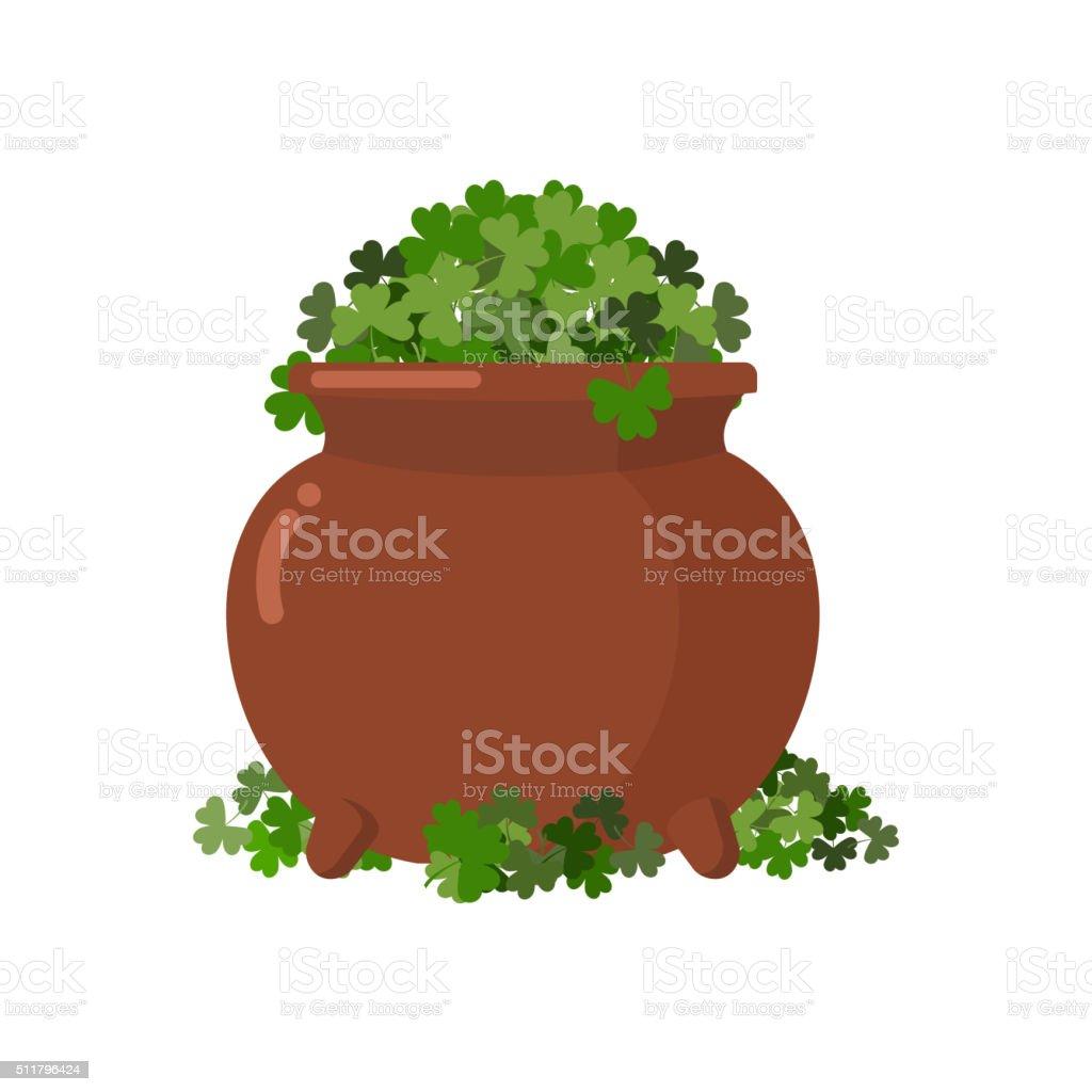 Pot and clover. Boiler full Green clover. Hoax, fake treasure vector art illustration