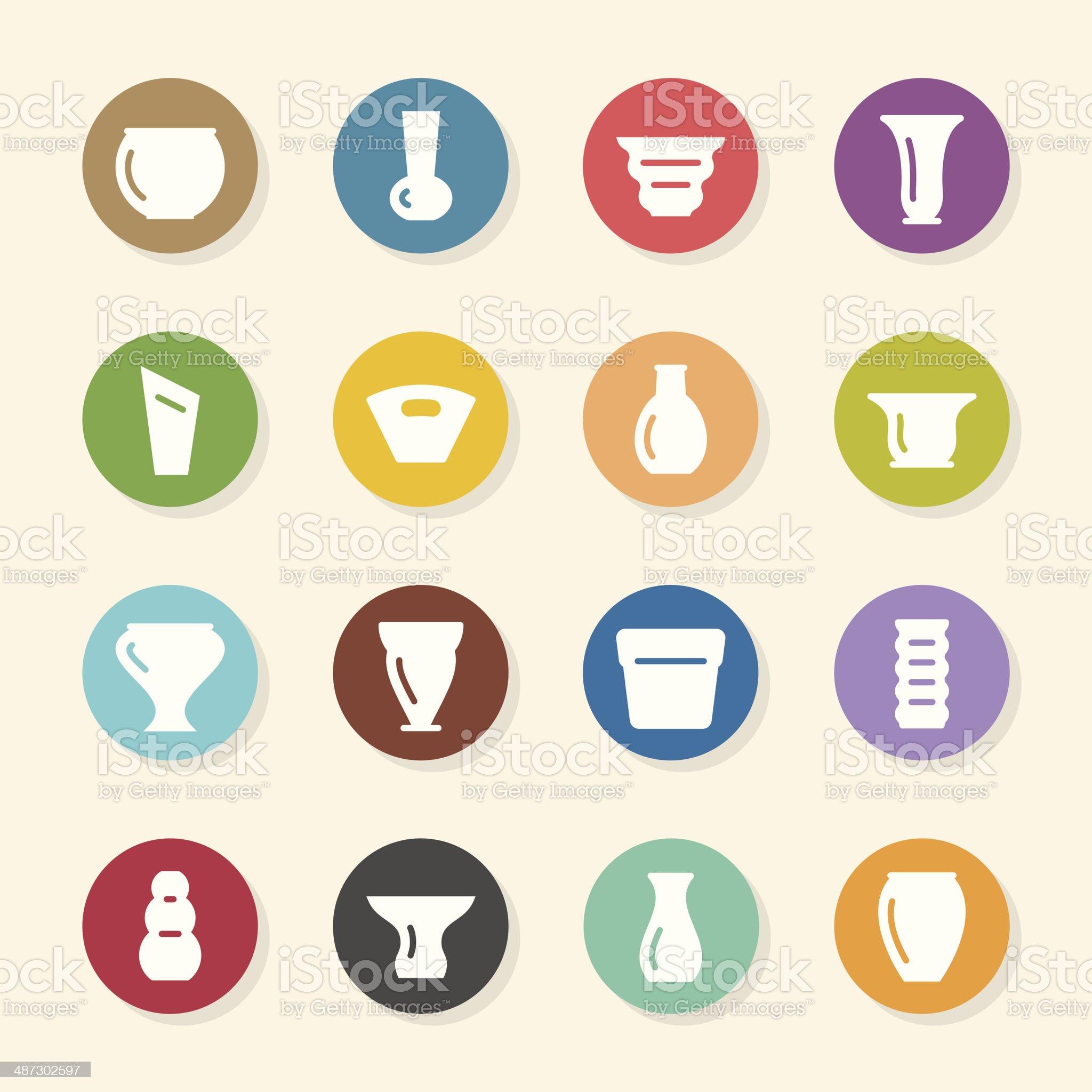 Pot and Vase Icons Set 1 - Color Circle Series royalty-free stock vector art
