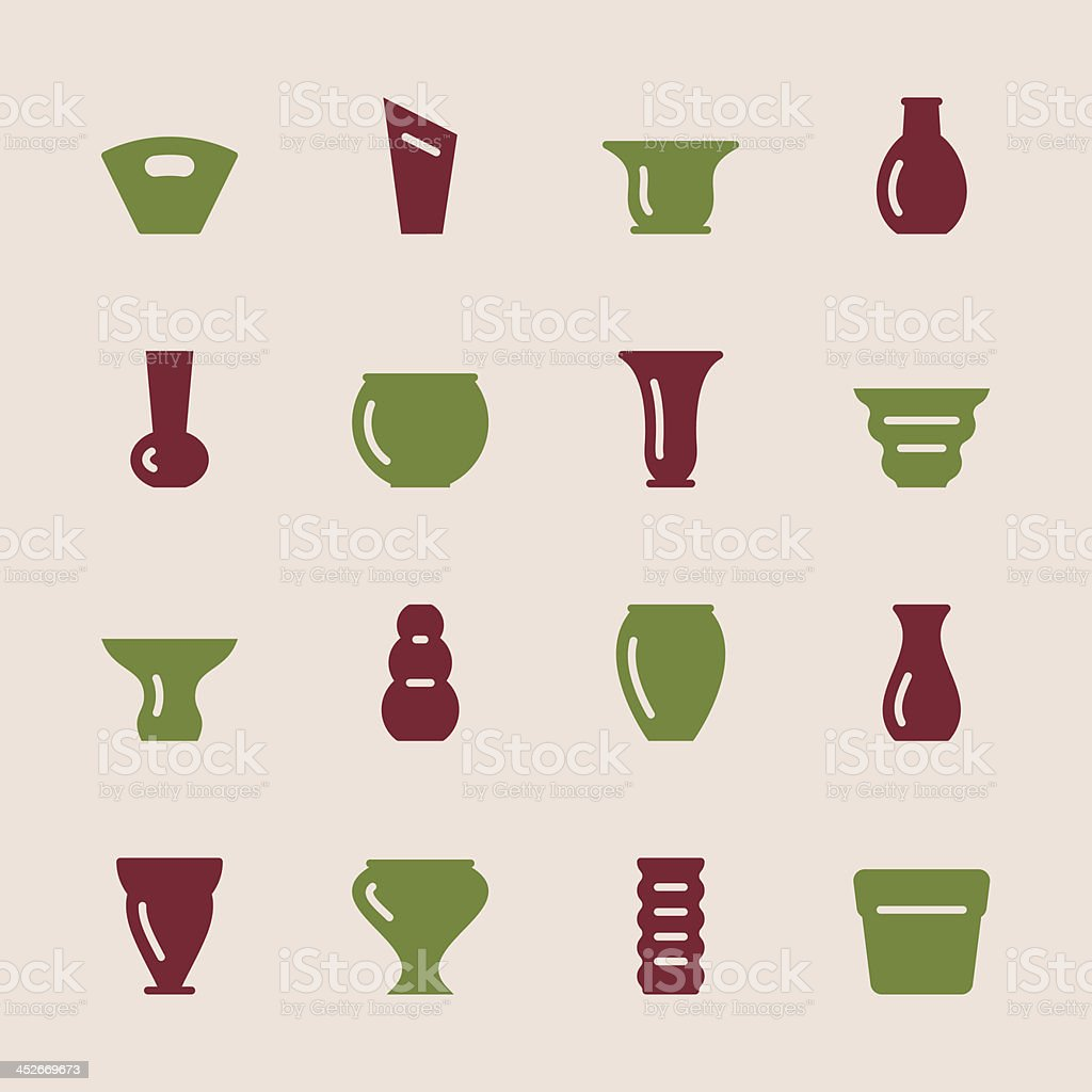 Pot and Vase Icons Set 1 - Color Series vector art illustration