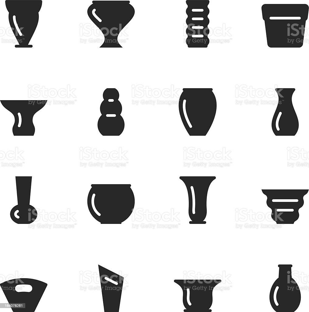 Pot and Vase Silhouette Icons | Set 1 royalty-free stock vector art