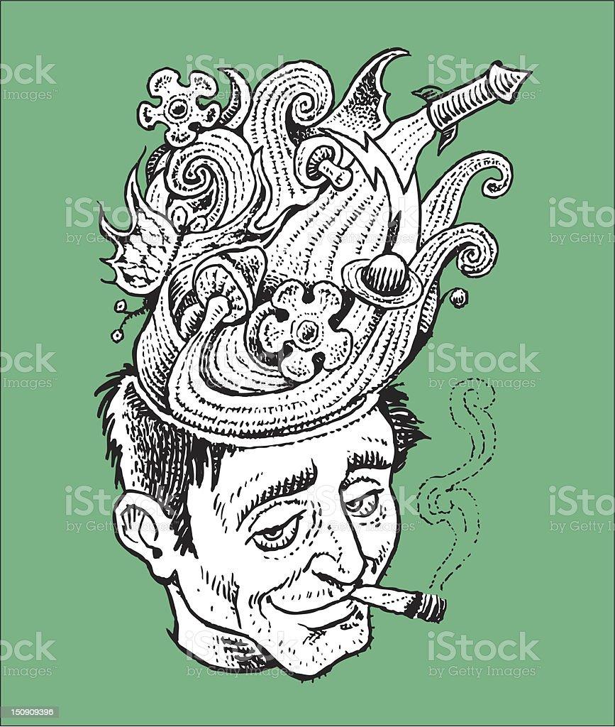 Pot Head vector art illustration