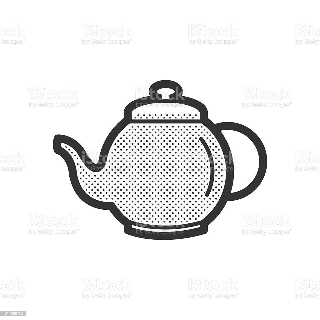 Pot Herbs and tea icon vector art illustration